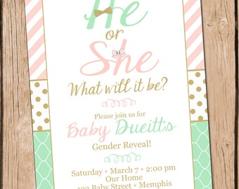 Gender Reveal Invitation He or She Gender Reveal Invite Mint and Pink Gender Reveal Invitation
