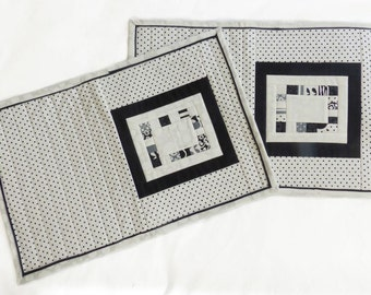 Quilted black, white and grey Placemats