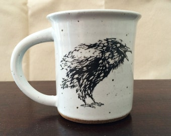 Crows! Individual everyday drinking mug. Holds 16 fluid oz. Hand thrown stoneware, white glaze.  For hot or warm  beverages.
