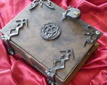 400/800 page Leather Hazel Eyed Triquetra Spell book Grimoire Book of Shadows Journal Diary lock and key latch with hinges