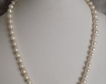Hand Knotted Freshwater Cultured Pearl Sterling Silver Opera Necklace - Handcrafted Sterling Silver Jewelry