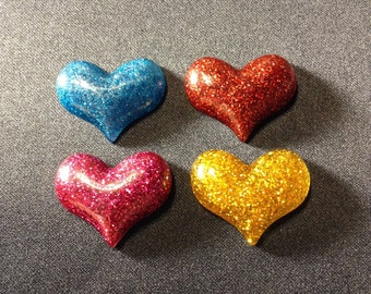 Colorful Glitter Resin Hearts!