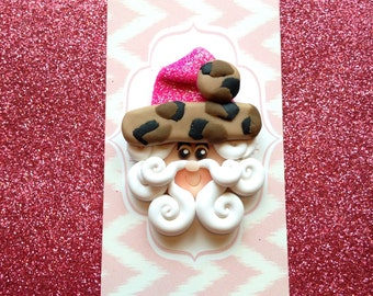 Pink leopard hat santa clay bow center