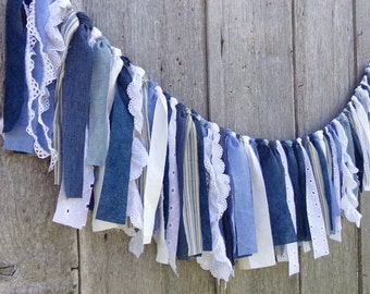 Denim Wedding Garland, 4 Ft Rustic Country Chic Banner, Boho Rag Tie Fabric Backdrop, Blue & White Party Decor, Birthday Photo Prop