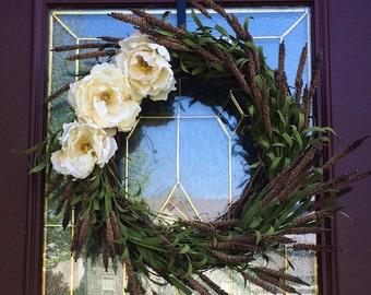 """SALE: Wispy Brown Wheat Grapevine Wreath 23"""", spray, Off White Flowers, Year Round Wreath"""