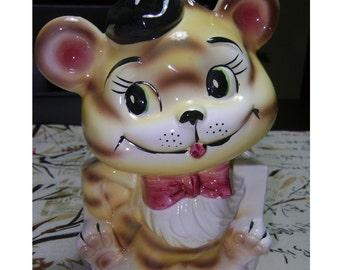 50s JAPAN Planter TIGER CUB Cat Vase Vintage Porcelain Animal Figurine Kitsch Statue Ceramic Kitty Baby Nursery Room Child Decor Shower Gift