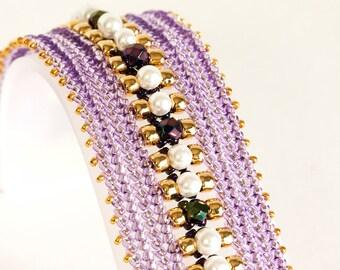 Herringbone Bracelet - Seed Bead Bracelet in White Glass Pearls, Iris Purple FP, Gold & Lilac Seed Beads - Seed Bead Jewelry - Beadweaving