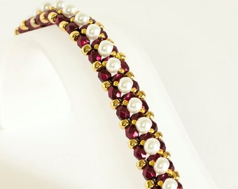 Pearl Bracelet - Seed Bead Bracelet - Beadwoven Bracelet in Burgundy Fire Polished Beads, White Glass Pearls, Gold Plated Seed Beads
