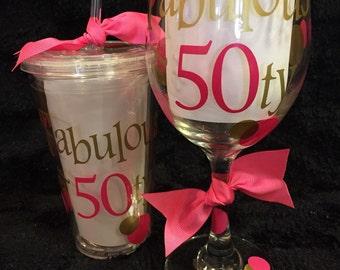 50th Birthday Wine Glass set