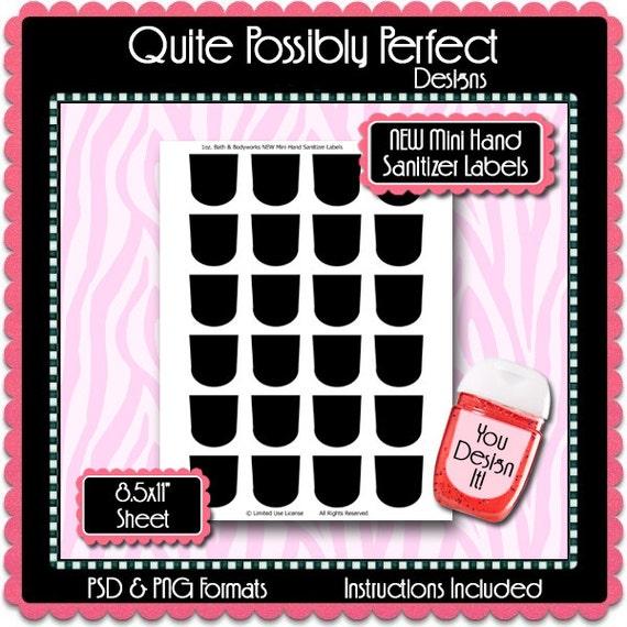 new mini hand sanitizer label template instant download psd. Black Bedroom Furniture Sets. Home Design Ideas