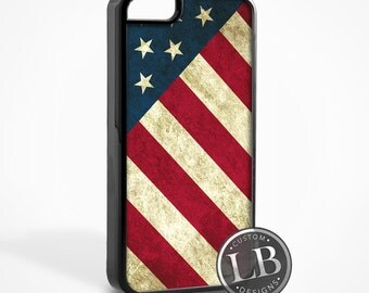 iPhone Case - 4th of July American Flag Vintage Red White and Blue - 4, 4s, 5, 5s, 5c, 6, 6 Plus Cover - id: 38000