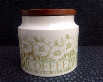 Vintage Hornsea Fleur Ceramic Coffee canister with Teak Lid in Perfect Condition.