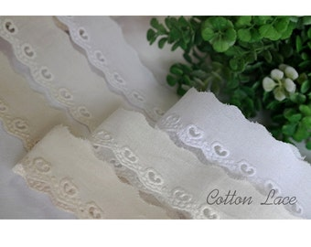 """14yard Broderie anglaise scallop cotton lace trim 1""""(2.5cm) yh1449s laceking"""
