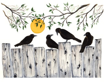 Crows on the Fence 8x10 print