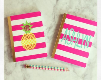 Personalized Notebook {Pink & White stripe}