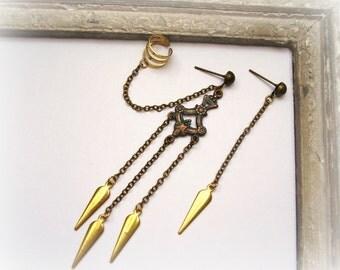 Spike ear cuff earring, Chain ear cuff ,Dangle spike earrings,Ear cuff earring, Gold spikes in brass earrings, Boho earrings by MyArtGame