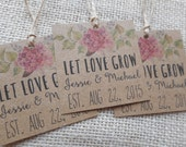 "custom favor tags, printable wedding favor tags, let love grow tags, custom favour tags, rustic favor tags, you print, 2"" x 2"", floral tags"