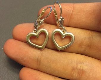 Vintage sterling silver handmade heart shaped drops, Italy 925 silver earrings