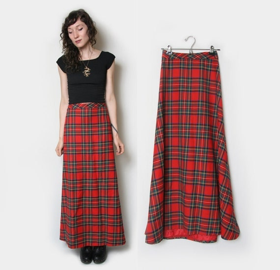 Long Plaid Maxi Skirt // Tartan Maxi Skirt // A-line Skirt //