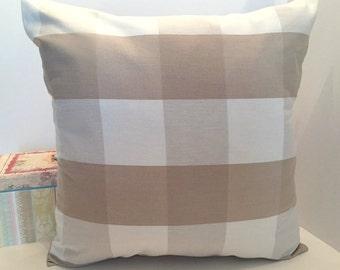 "18"" x 18"" Beige Buffalo Check Pillow Cover"