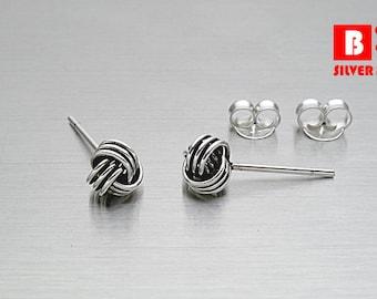 925 Sterling Silver Oxidized Earrings, Knot Earrings, Stud Earrings, Size 5 mm (Code : E36E)