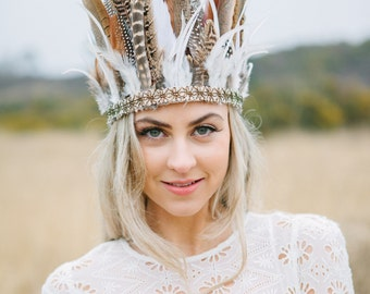 Wild Feather Headdress With Antique Gold Trim, Bridal Headdress, Boho Crown, Festival Feather Headdress, Wedding Headdress, Bridal Crown