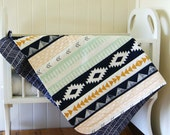 Unisex Baby Blanket, Cot Blanket in Aztec and Herringbone, gold, mint, peach and navy crib blanket