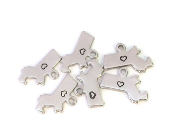2x Silver Plated Massachusetts State Charms w/ Hearts - M070/H-MA