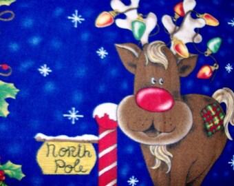 Rudolph Reindeer Fleece Throw North Pole