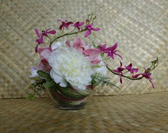 Tropical Wedding Centerpiece, Orchid Centerpiece, Peony Centerpiece, Silk Floral Arrangement