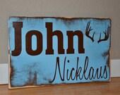 Baby Name Sign-Boy-Antlers-Rustic-Baby Shower gift-Custom-Toddler-Gift-Children-Decor-Art