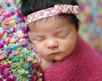 Simplicity Coral and Gold Aztec Design Headband Simple Headband Beautiful Newborn Photo Prop Baby Toddler Adult
