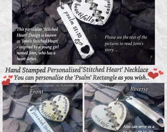 Hand Stamped Personalised 'Jenn's Stitched Heart' Necklace, Charity, Heart Patients, Heart Surgery, CHD, Broken Heart,Beautifully Unbroken