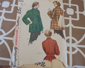 Vintage Simplicity Sewing Pattern 2949 1940s Double Breasted Peacoat Topper sz 12 50% Off Sale