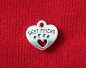 """10pc """"Best friend"""" charms in antique silver style (BC704)"""