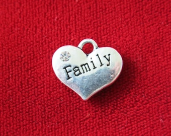 "5pc ""Family"" charms in antique silver style (BC702)"