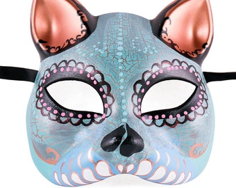 Day of the Dead Cat Mask, Gato Muerto, Cat Masquerade Mask, Day of the Dead Sugar Skull Mask, Dia de los Muertos Wedding