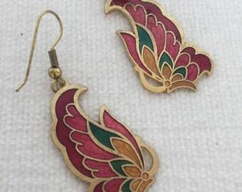 SALE Cloisonné butterfly earrings