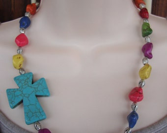 cross necklace, cowgirl chic, chunky bead necklace, cowgirl jewelry, turquoise necklace, necklace, boho chic