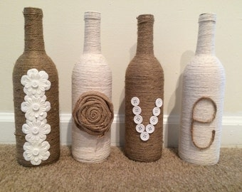 Love Twine wrapped wine bottle decor!