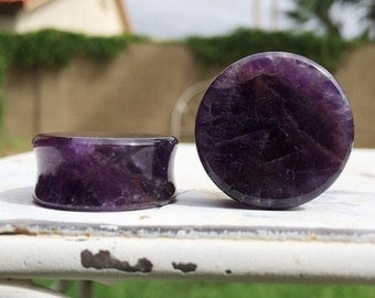 "Amethyst Stone Plugs 9/16"" (14mm) 5/8"" (16mm) 3/4"" (20mm) 7/8"" (22mm) One Inch (25mm)"