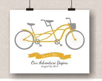 Tandem Bicycle Art - Personalized Wedding Gift, Couples Bicycle Art, First Anniversary Paper Gift, Gift For Couple Engagement, Tandem Bike