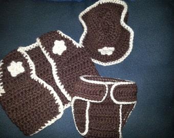 Cowboy crochet photo prop set.