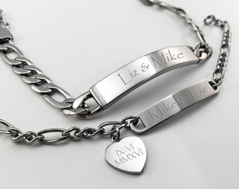 His & Hers Bracelet set, Engraved Love Bracelet, Customized Couples Bracelet Set, Personalized Valentine's Day Gift