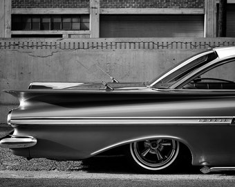 Maybeline's Tail Chicano Soul Photography Black And White 1959 Chevrolet Impala Automotive Classic Car Lowrider Chicano Soul