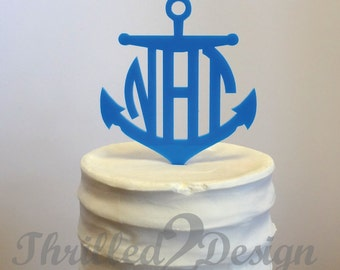 8 inch Anchor with Circle Monogram CAKE TOPPER - Celebrate, Party, Cake Decoration