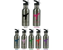 Personalized Custom 20 Oz 600ML Karate Stainless Steel Water Bottle with Straw Top Holiday Gift