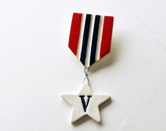 Vegan Medal. Hand Made, Fired Ceramic Pin. Vegetarian Army Medal.  Go Varmy.