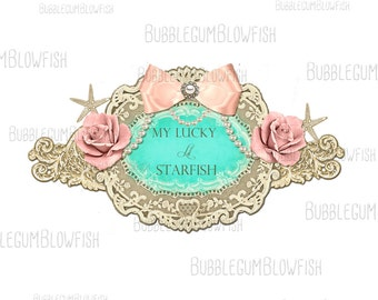 Gorgeous Starfish Nautical Roses Cottage chic style  Logo Design can be used as website header