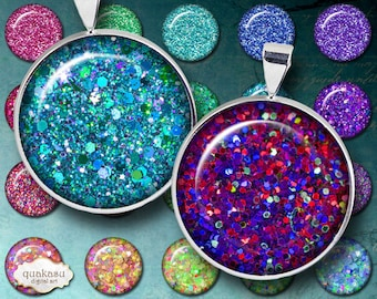 Glitter Circles in 1 inch, 1.25 inch and 1.50 inch in size, digital circle images, sparkling circles, bottlecap images, magnets, pins